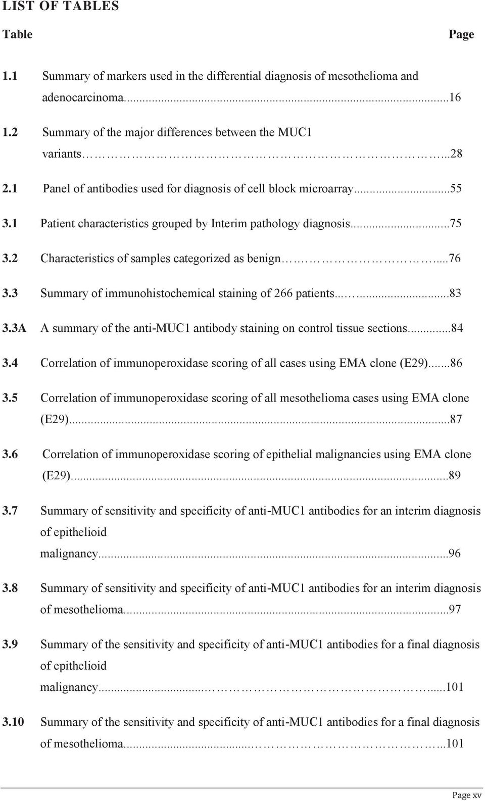 ...76 3.3 Summary of immunohistochemical staining of 266 patients......83 3.3A A summary of the anti-muc1 antibody staining on control tissue sections...84 3.