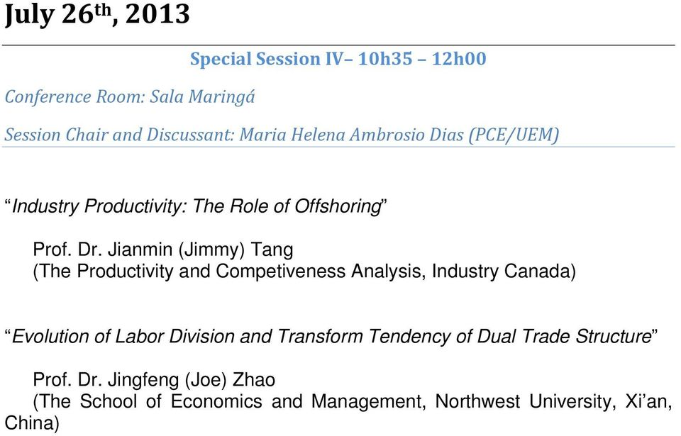 Jianmin (Jimmy) Tang (The Productivity and Competiveness Analysis, Industry Canada) Evolution of Labor