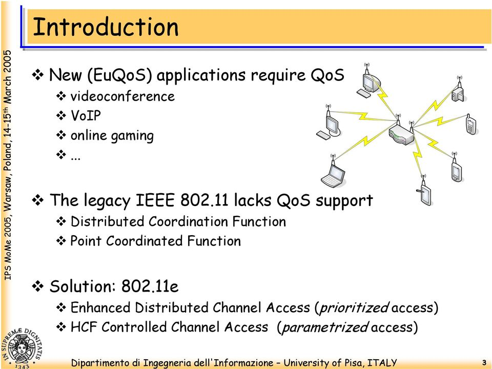 11 lacks QoS support Distributed Coordination Function Point Coordinated