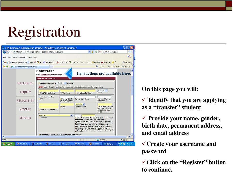 student Provide your name, gender, birth date, permanent address,