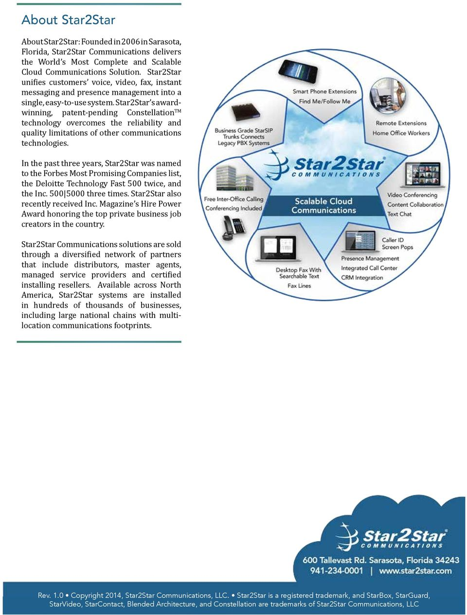 Star2Star s awardwinning, patent-pending Constellation TM technology overcomes the reliability and quality limitations of other communications technologies.