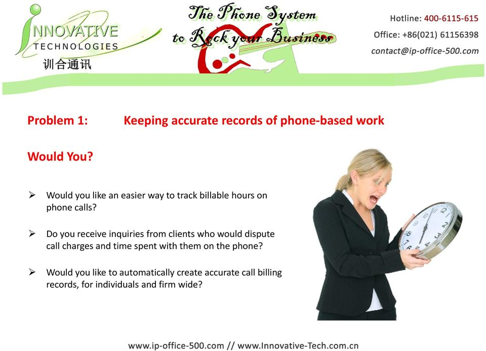 Do you receive inquiries from clients who would dispute call charges and time spent