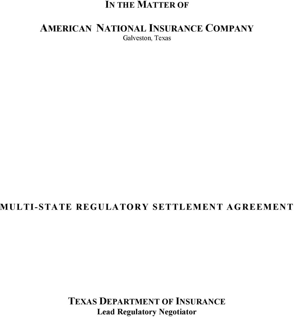 MULTI-STATE REGULATORY SETTLEMENT