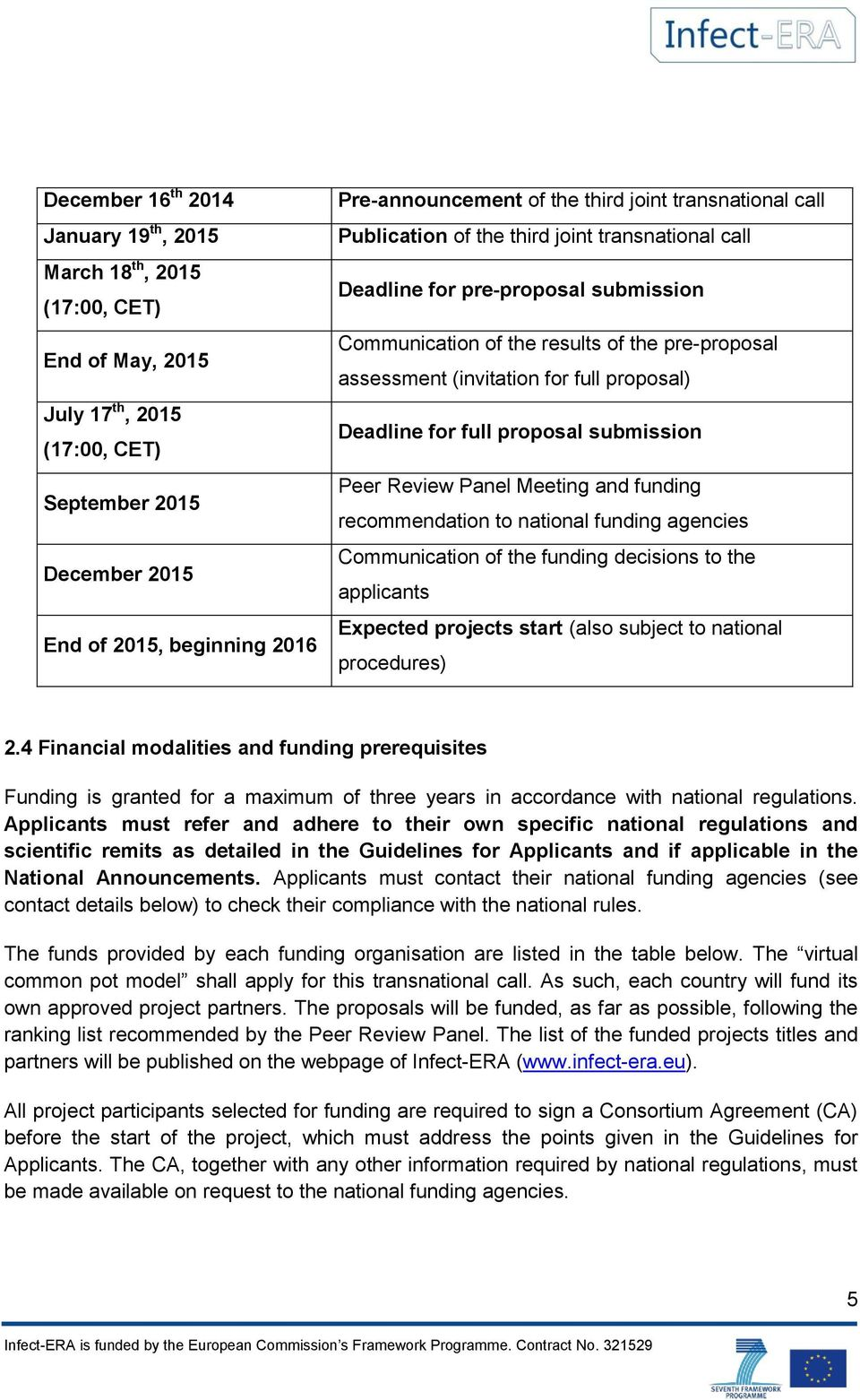 proposal) Deadline for full proposal submission Peer Review Panel Meeting and funding recommendation to national funding agencies Communication of the funding decisions to the applicants Expected