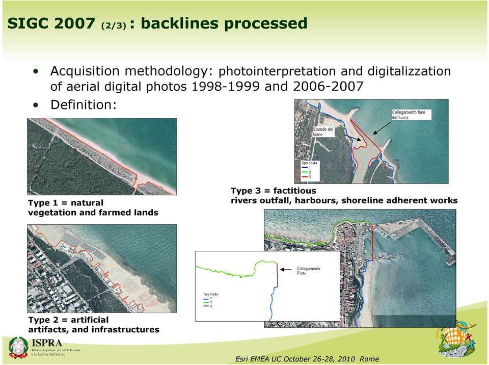 Type 1 = natural vegetation and farmed lands Type 3 = factitious rivers outfall,
