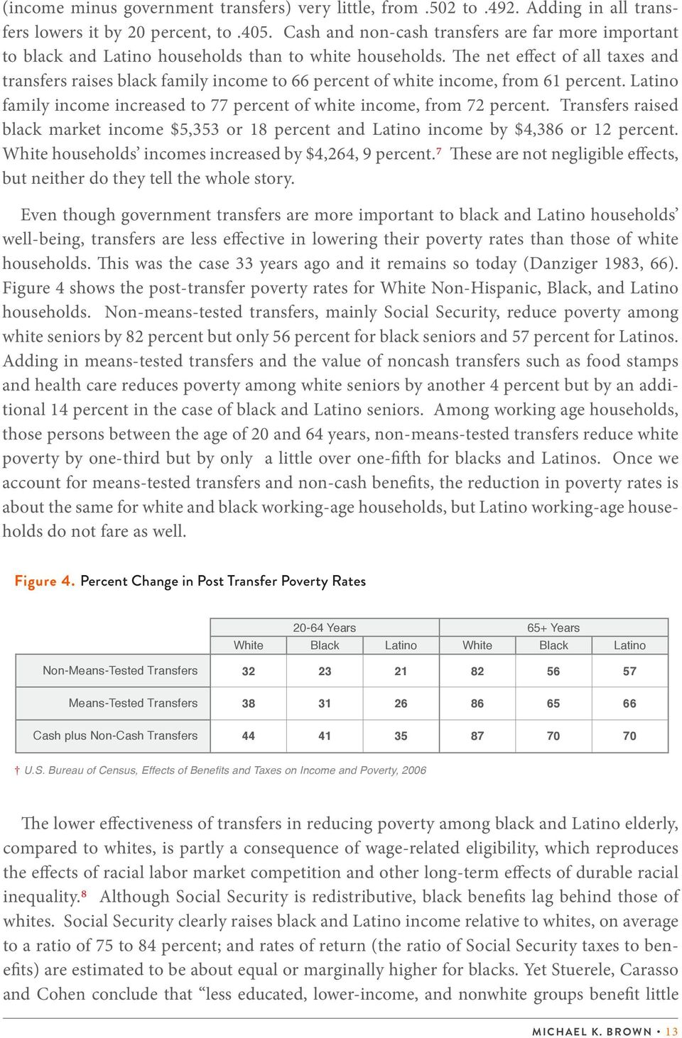 The net effect of all taxes and transfers raises black family income to 66 percent of white income, from 61 percent. Latino family income increased to 77 percent of white income, from 72 percent.