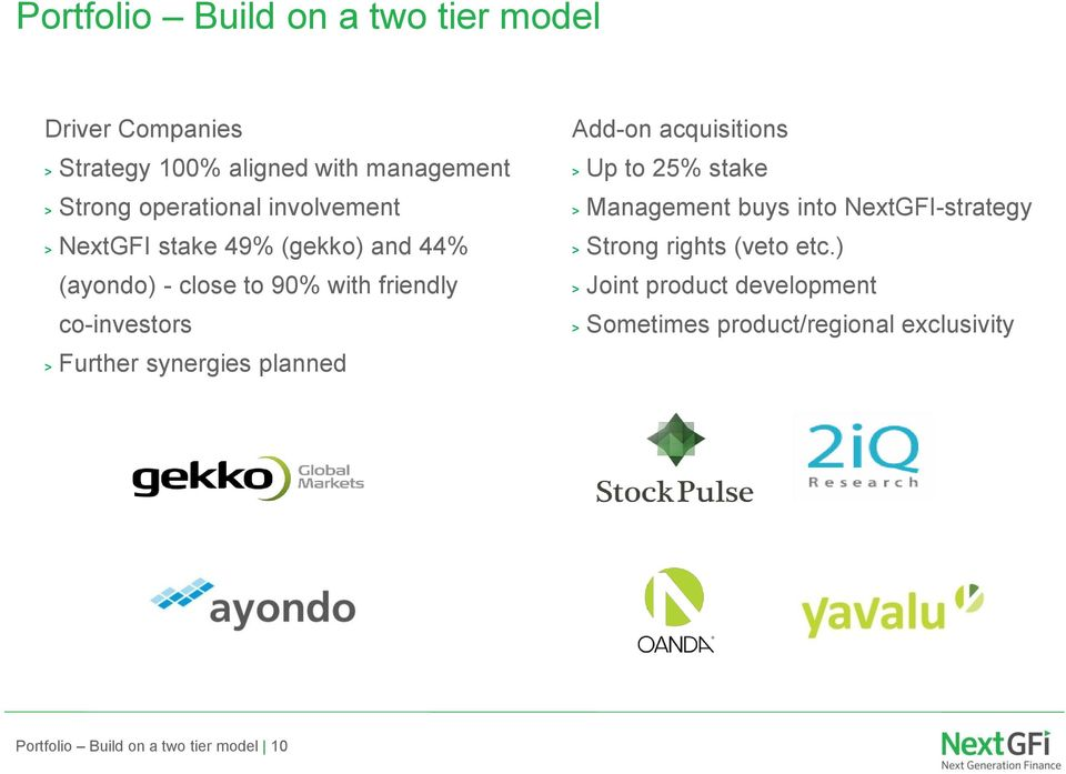 synergies planned Add-on acquisitions > Up to 25% stake > Management buys into NextGFI-strategy > Strong rights