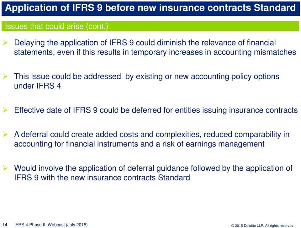 addressed by existing or new accounting policy options under IFRS 4 Effective date of IFRS 9 could be deferred for entities issuing insurance contracts A deferral could create added