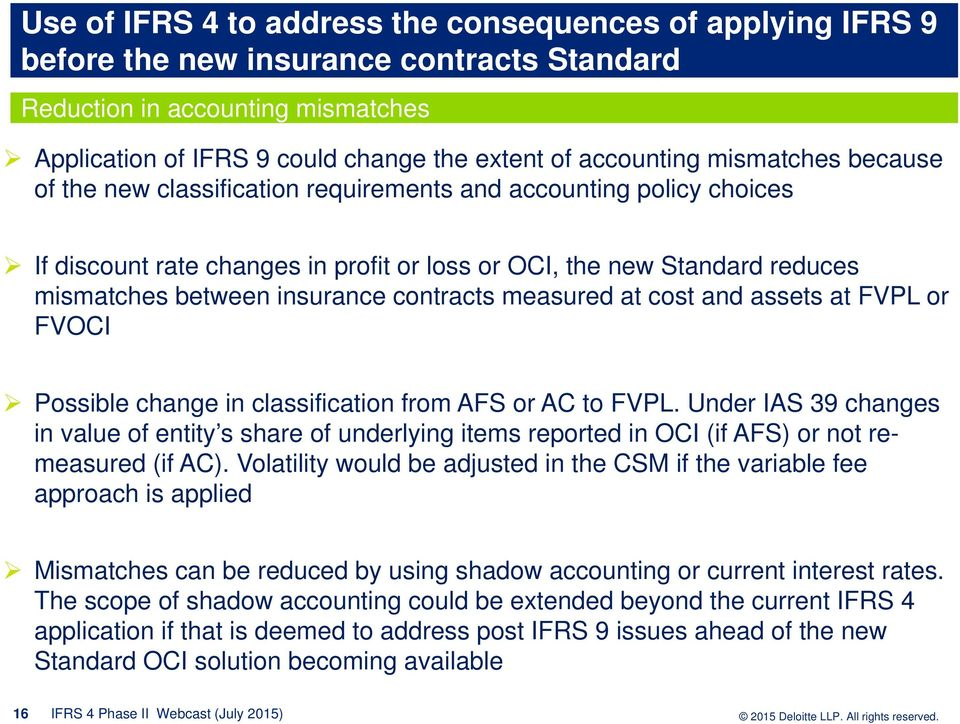 contracts measured at cost and assets at FVPL or FVOCI Possible change in classification from AFS or AC to FVPL.