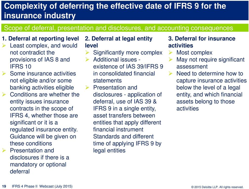 whether the entity issues insurance contracts in the scope of IFRS 4, whether those are significant or it is a regulated insurance entity.