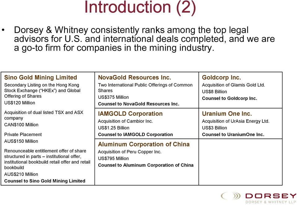 Placement AUS$150 Million Renounceable entitlement offer of share structured in parts institutional offer, institutional bookbuild retail offer and retail bookbuild AUS$210 Million Counsel to Sino