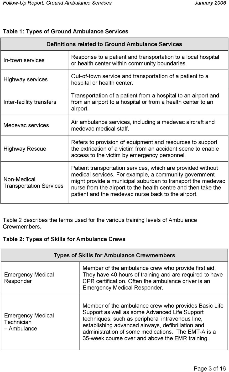 Out-of-town service and transportation of a patient to a hospital or health center.