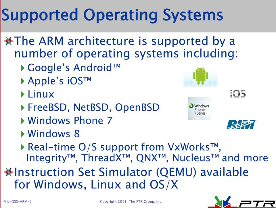 Phone 7 Windows 8 Real-time O/S support from VxWorks, Integrity, ThreadX, QNX, Nucleus