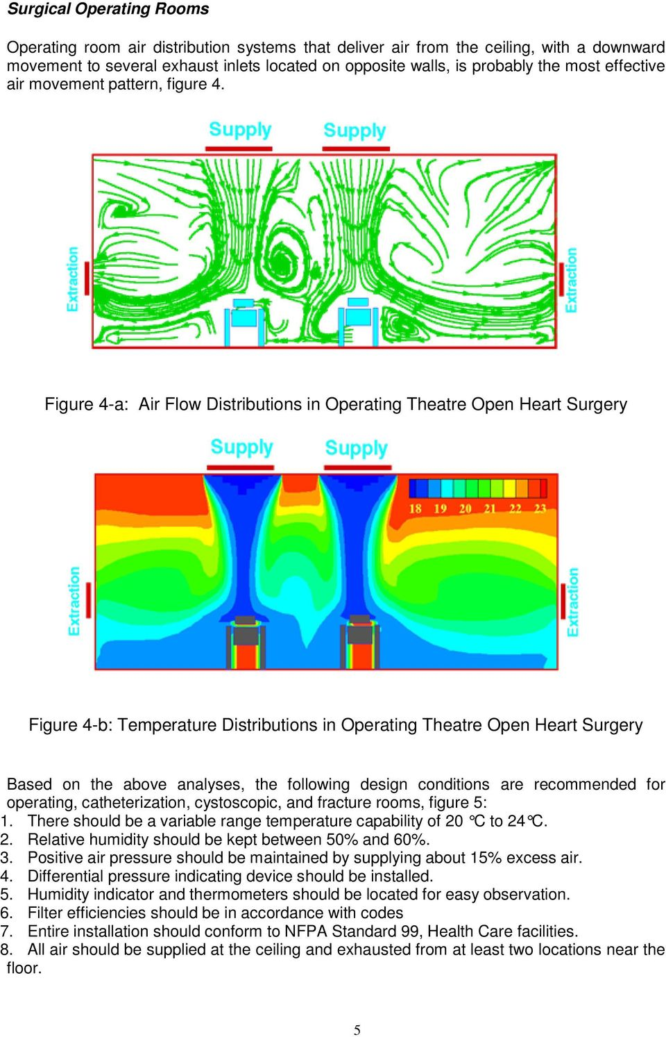 Figure 4-a: Air Flow Distributions in Operating Theatre Open Heart Surgery Figure 4-b: Temperature Distributions in Operating Theatre Open Heart Surgery Based on the above analyses, the following
