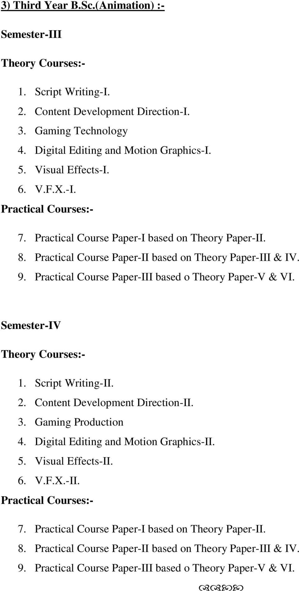 Practical Course Paper-III based o Theory Paper-V & VI. Semester-IV Theory Courses:- 1. Script Writing-II. 2. Content Development Direction-II. 3. Gaming Production 4.