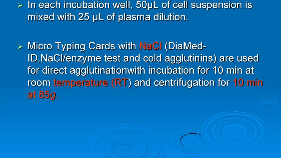 Micro Typing Cards with NaCl (DiaMed- ID,NaCl/enzyme test and cold