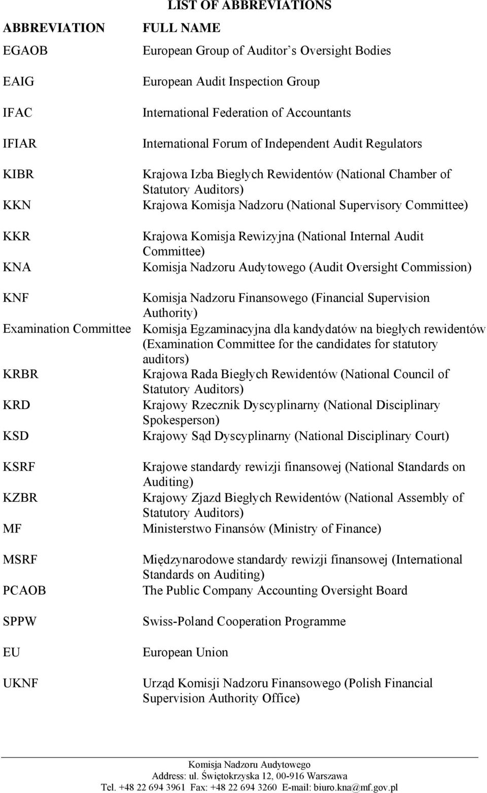 Auditors) Krajowa Komisja Nadzoru (National Supervisory Committee) Krajowa Komisja Rewizyjna (National Internal Audit Committee) (Audit Oversight Commission) Komisja Nadzoru Finansowego (Financial