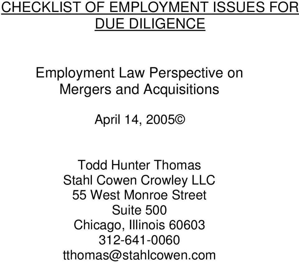 Hunter Thomas Stahl Cowen Crowley LLC 55 West Monroe Street