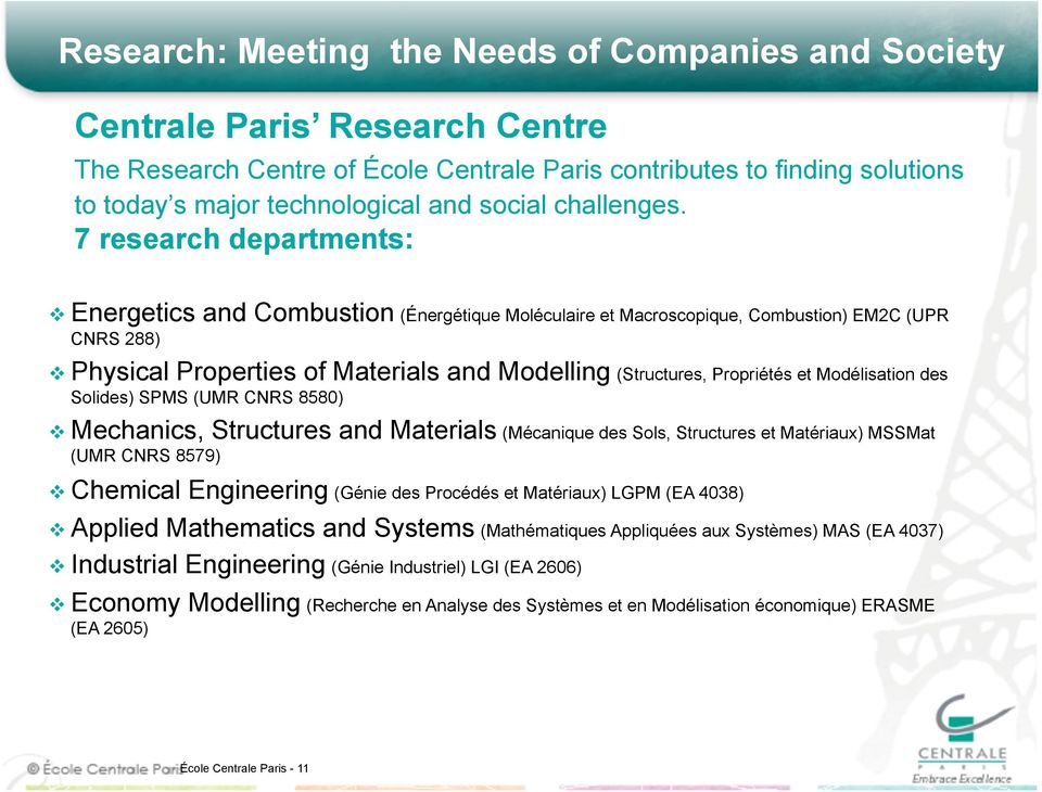 7 research departments: Energetics and Combustion (Énergétique Moléculaire et Macroscopique, Combustion) EM2C (UPR CNRS 288) Physical Properties of Materials and Modelling (Structures, Propriétés et