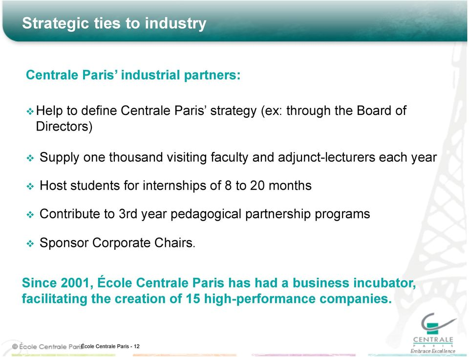 8 to 20 months Contribute to 3rd year pedagogical partnership programs Sponsor Corporate Chairs.