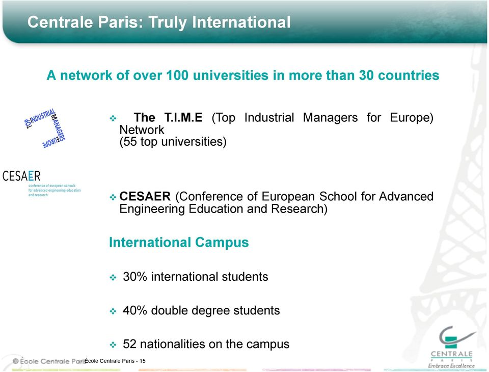 E (Top Industrial Managers for Europe) Network (55 top universities) CESAER (Conference of