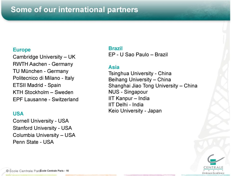 Columbia University USA Penn State - USA Brazil EP - U Sao Paulo Brazil Asia Tsinghua University - China Beihang University China