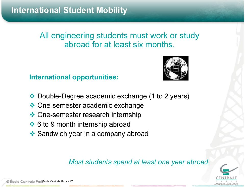International opportunities: Double-Degree academic exchange (1 to 2 years) One-semester
