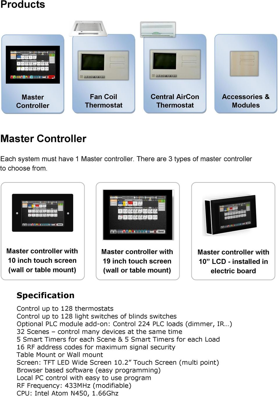 Master controller with 10 inch touch screen (wall or table mount) Master controller with 19 inch touch screen (wall or table mount) Master controller with 10 LCD - installed in electric board