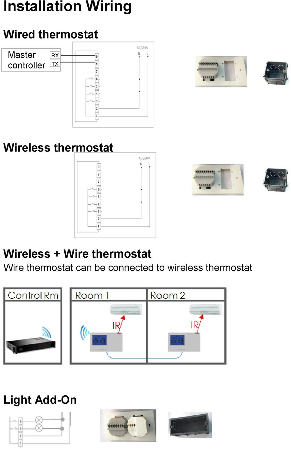Wireless + Wire thermostat Wire thermostat
