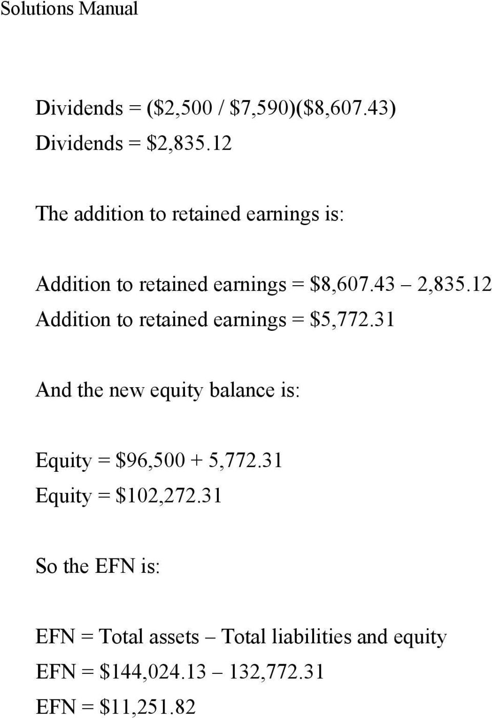 12 Addition to retained earnings = $5,772.