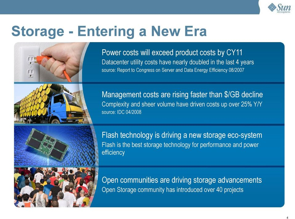 sheer volume have driven costs up over 25% Y/Y source: IDC 04/2008 Flash technology is driving a new storage eco-system Flash is the best