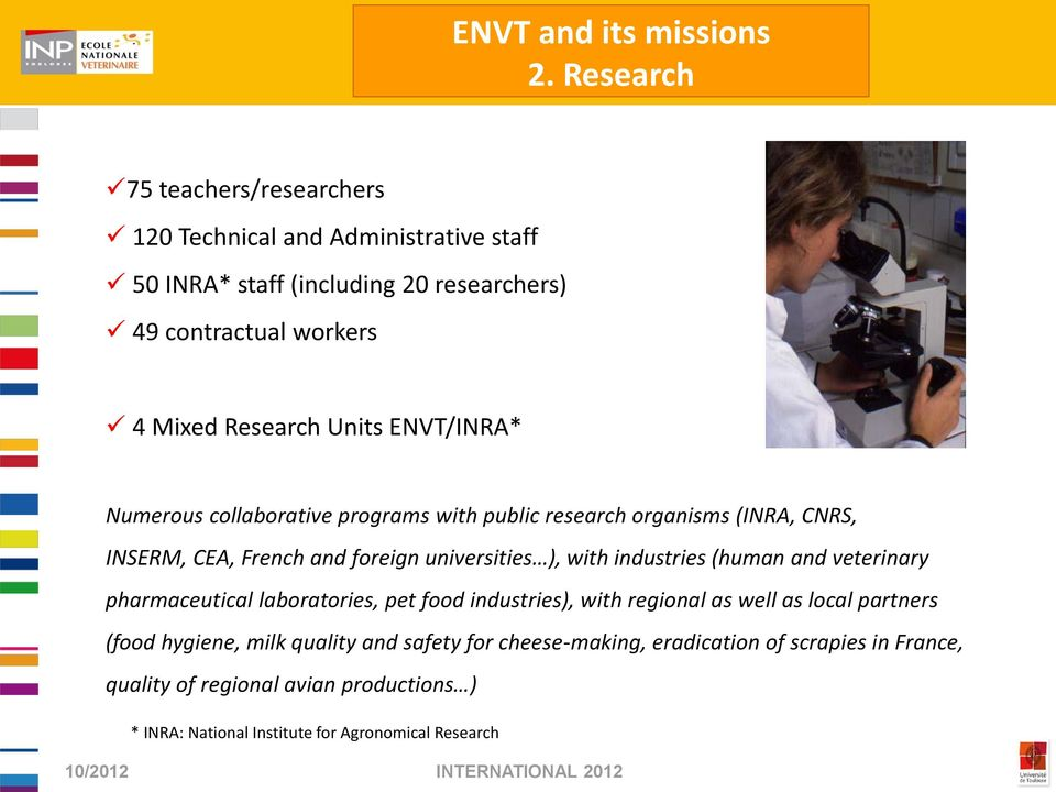 Units ENVT/INRA* Numerous collaborative programs with public research organisms (INRA, CNRS, INSERM, CEA, French and foreign universities ), with industries