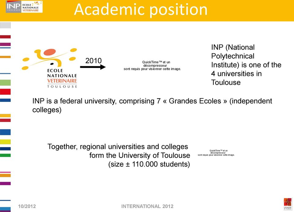university, comprising 7 «Grandes Ecoles» (independent colleges) Together, regional universities and