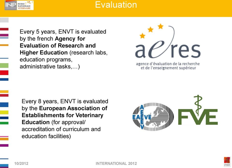 tasks, ) Every 8 years, ENVT is evaluated by the European Association of