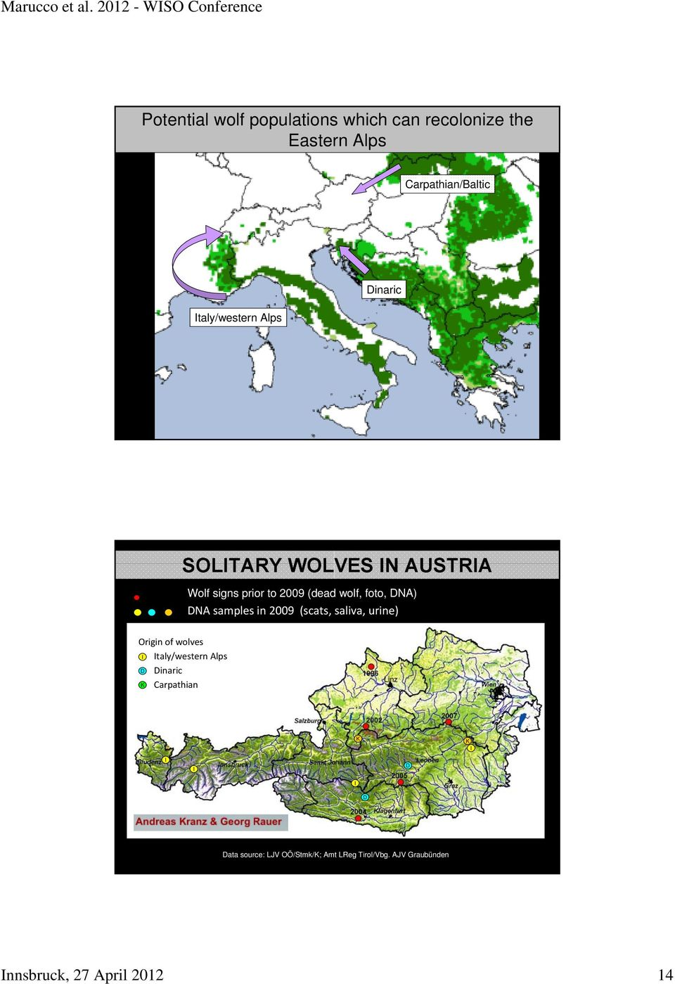 samples in 2009 (scats, saliva, urine) Origin of wolves I Italy/western Alps D Dinaric K