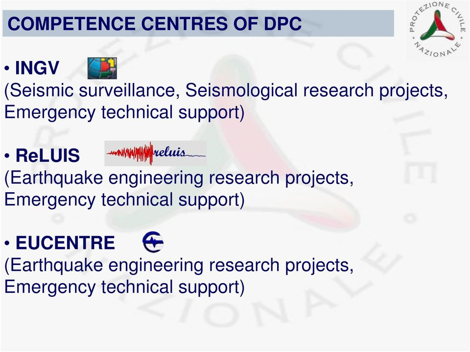engineering research projects, Emergency technical support) EUCENTRE