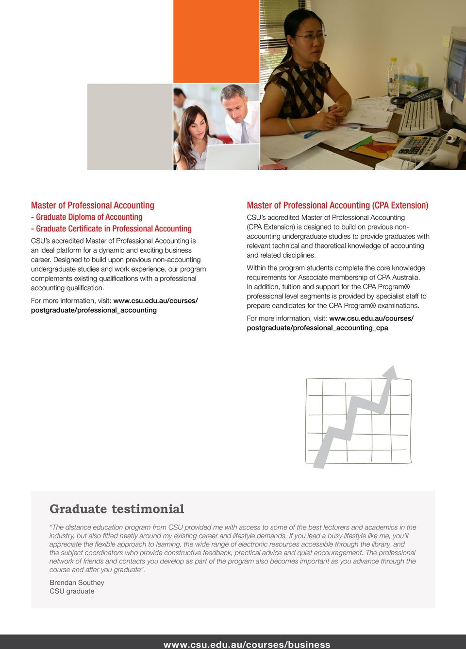 Designed to build upon previous non-accounting undergraduate studies and work experience, our program complements existing qualifications with a professional accounting qualification.