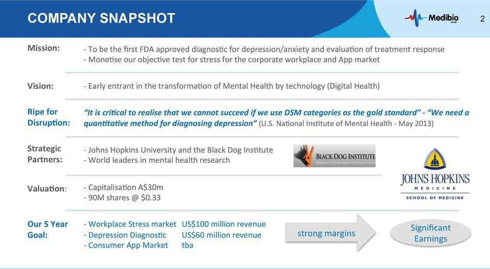 use DSM categories as the gold standard - We need a quan)ta)ve method for diagnosing depression (U.S. Na7onal Ins7tute of Mental Health - May 2013) - Johns Hopkins University and the Black Dog Ins7tute - World leaders in mental health research Valua0on: - Capitalisa7on A$30m - 90M shares @ $0.