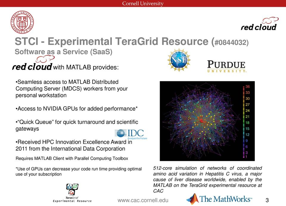Data Corporation Requires MATLAB Client with Parallel Computing Toolbox *Use of GPUs can decrease your code run time providing optimal use of your subscription 512-core simulation of