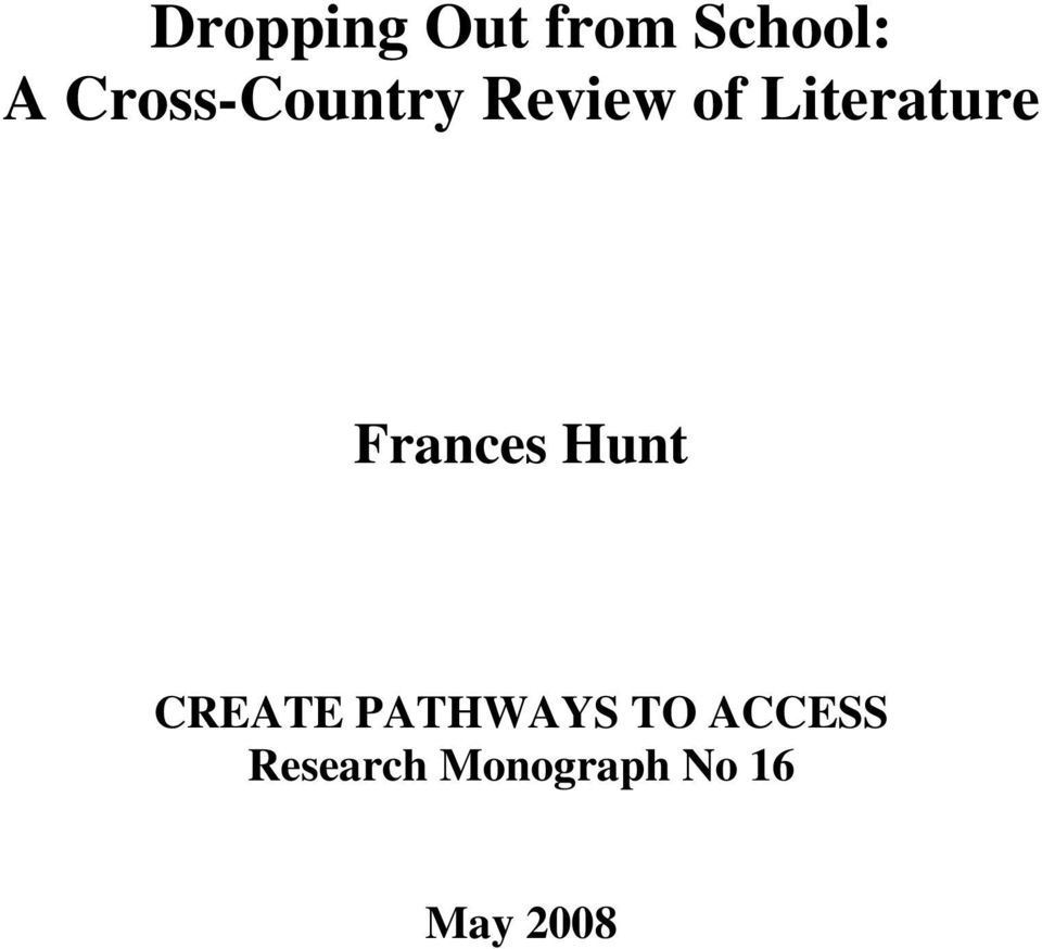 Literature Frances Hunt CREATE