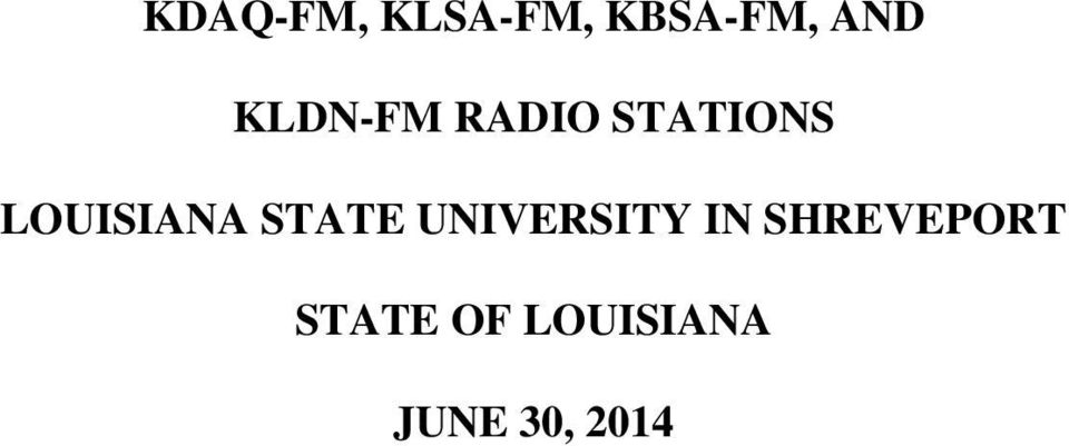 LOUISIANA STATE UNIVERSITY IN