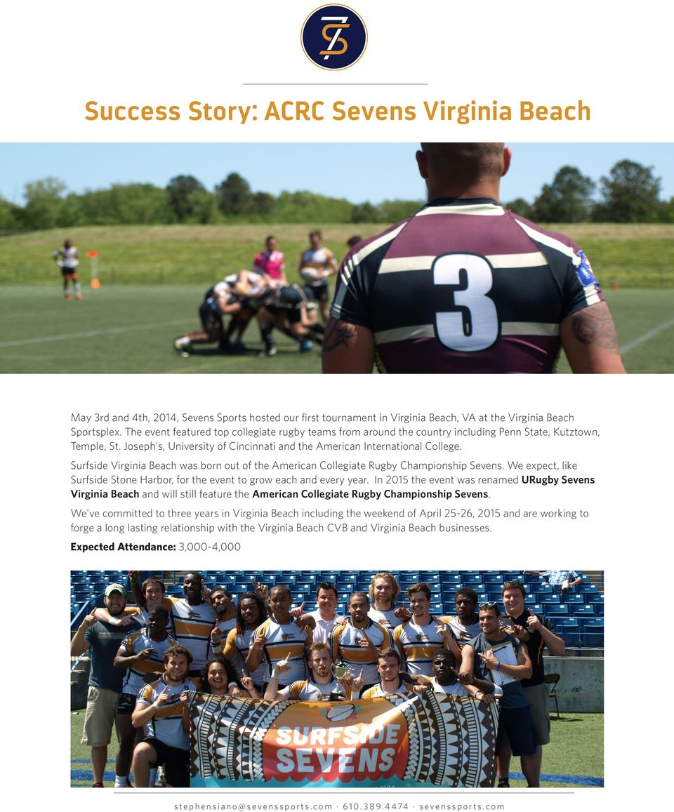 Surfside Virginia Beach was born out of the American Collegiate Rugby Championship Sevens. We expect, like Surfside Stone Harbor, for the event to grow each and every year.