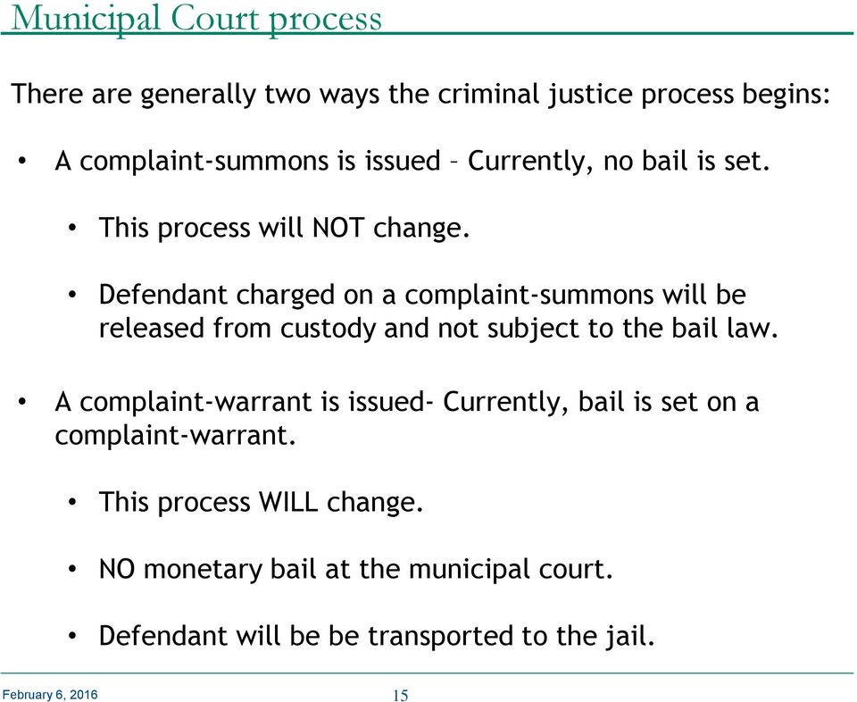 Defendant charged on a complaint-summons will be released from custody and not subject to the bail law.