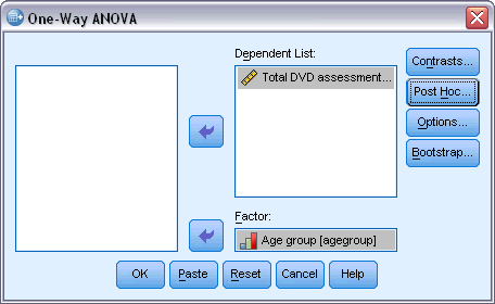 53 One-Way ANOVA Figure 10-1 One-Way ANOVA dialog box Select one or more dependent variables. Select a single independent factor variable.