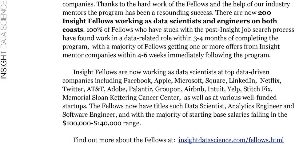 100% of Fellows who have stuck with the post-insight job search process have found work in a data-related role within 3-4 months of completing the program, with a majority of Fellows getting one or