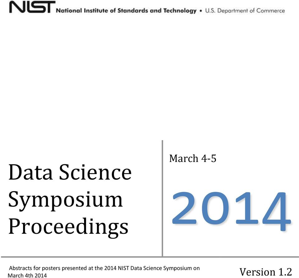 presented at the 2014 NIST Data