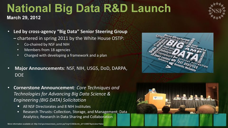 Technologies for Advancing Big Data Science & Engineering (BIG DATA) Solicitation All NSF Directorates and 8 NIH Institutes Research Thrusts: Collection, Storage, and