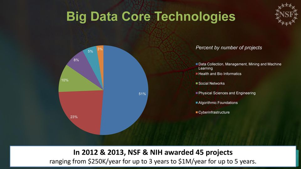 Physical Sciences and Engineering Algorithmic Foundations 23% Cyberinfrastructure In 2012 &