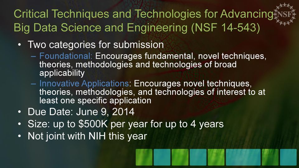 applicability Innovative Applications: Encourages novel techniques, theories, methodologies, and technologies of interest