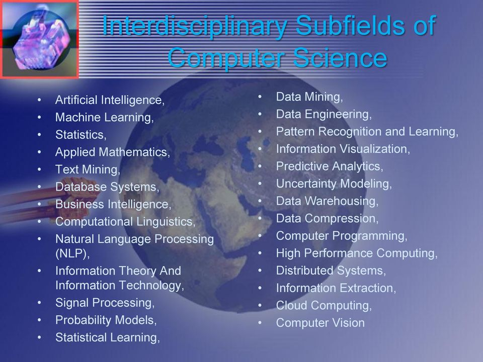 Probability Models, Statistical Learning, Data Mining, Data Engineering, Pattern Recognition and Learning, Information Visualization, Predictive Analytics,
